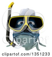 Clipart Of A 3d Blue Chef Fish With Snorkel Gear Royalty Free Illustration by Julos