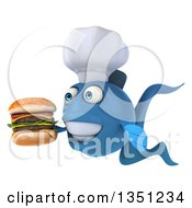 Clipart Of A 3d Blue Fish Chef Facing Left Holding A Double Cheeseburger Royalty Free Illustration
