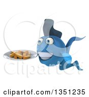 Clipart Of A 3d Blue Fish Holding A Plate Of French Fries Royalty Free Illustration