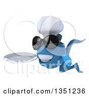 Clipart Of A 3d Blue Fish Chef Wearing Sunglasses Facing Left Holding A Plate Royalty Free Illustration