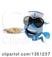 Clipart Of A 3d Happy Blue Sailor Fish Wearing Sunglasses And Holding A Plate Of French Fries Royalty Free Illustration by Julos
