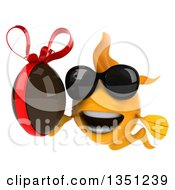 Clipart Of A 3d Happy Yellow Fish Wearing Sunglasses And Holding A Chocolate Easter Egg Royalty Free Illustration