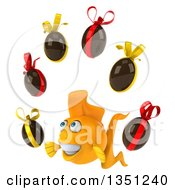 Clipart Of A 3d Happy Yellow Fish Facing Slightly Left And Juggling Chocolate Easter Eggs Royalty Free Illustration