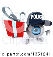 Clipart Of A 3d Blue Police Eyeball Character Holding Up A Thumb Down And A Gift Royalty Free Illustration by Julos