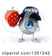 Clipart Of A 3d Blue Police Eyeball Character Holding And Pointing To A Strawbery Royalty Free Illustration by Julos