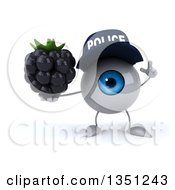 Clipart Of A 3d Blue Police Eyeball Character Holding Up A Finger And A Blackberry Royalty Free Illustration