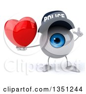 Clipart Of A 3d Blue Police Eyeball Character Holding Up A Finger And A Love Heart Royalty Free Illustration by Julos