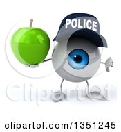 Clipart Of A 3d Blue Police Eyeball Character Holding A Green Apple And Giving A Thumb Down Royalty Free Illustration by Julos