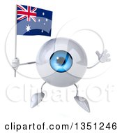 Clipart Of A 3d Blue Eyeball Character Holding An Australian Flag And Jumping Royalty Free Illustration