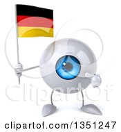 Clipart Of A 3d Blue Eyeball Character Holding And Pointing To A German Flag Royalty Free Illustration
