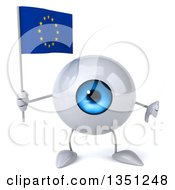 Clipart Of A 3d Blue Eyeball Character Holding A European Flag And Giving A Thumb Down Royalty Free Illustration