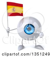 Clipart Of A 3d Blue Eyeball Character Holding And Pointing To A Spanish Flag Royalty Free Illustration