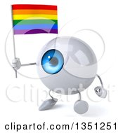 Clipart Of A 3d Blue Eyeball Character Holding A Rainbow Flag And Walking Royalty Free Illustration by Julos