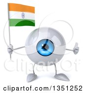 Clipart Of A 3d Blue Eyeball Character Holding An Indian Flag And Giving A Thumb Up Royalty Free Illustration