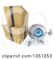 Clipart Of A 3d Blue Eyeball Character Holding Up A Thumb And Boxes Royalty Free Illustration by Julos
