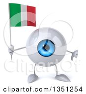 Clipart Of A 3d Blue Eyeball Character Holding An Italian Flag And Giving A Thumb Down Royalty Free Illustration