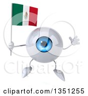 Clipart Of A 3d Blue Eyeball Character Holding A Mexican Flag And Jumping Royalty Free Illustration by Julos