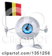 Clipart Of A 3d Blue Eyeball Character Holding A Belgian Flag And Giving A Thumb Up Royalty Free Illustration
