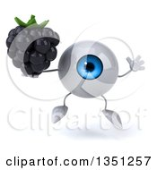Clipart Of A 3d Blue Eyeball Character Holding A Blackberry And Jumping Royalty Free Illustration