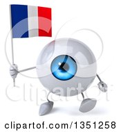 Clipart Of A 3d Blue Eyeball Character Holding A French Flag And Walking Royalty Free Illustration