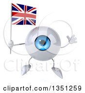Clipart Of A 3d Blue Eyeball Character Holding A British Union Jack Flag And Jumping Royalty Free Illustration by Julos
