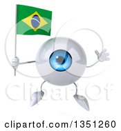 Clipart Of A 3d Blue Eyeball Character Holding A Brazilian Flag And Jumping Royalty Free Illustration by Julos