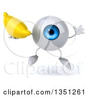 Clipart Of A 3d Blue Eyeball Character Holding A Banana And Jumping Royalty Free Illustration by Julos