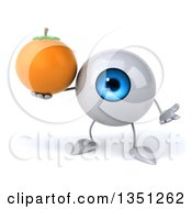 Clipart Of A 3d Blue Eyeball Character Shrugging And Holding A Navel Orange Royalty Free Illustration