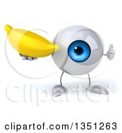 Clipart Of A 3d Blue Eyeball Character Holding A Banana And Giving A Thumb Up Royalty Free Illustration by Julos