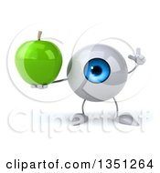 Clipart Of A 3d Blue Eyeball Character Holding Up A Finger And A Green Apple Royalty Free Illustration