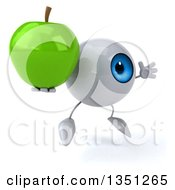 Clipart Of A 3d Blue Eyeball Character Holding A Green Apple And Jumping Royalty Free Illustration by Julos