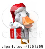 Clipart Of A 3d White Christmas Duck Holding A Gift Around A Sign Royalty Free Illustration