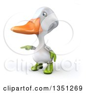 Clipart Of A 3d White Gardener Duck Pointing To The Left Royalty Free Illustration