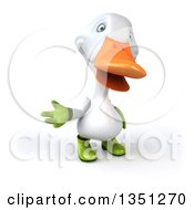Clipart Of A 3d White Gardener Duck Presenting Royalty Free Illustration