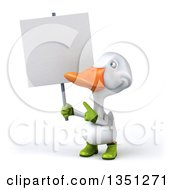 Clipart Of A 3d White Gardener Duck Holding And Pointing To A Blank Sign Royalty Free Illustration