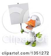 Clipart Of A 3d White Gardener Duck Holding A Blank Sign Royalty Free Illustration