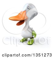 Clipart Of A 3d White Gardener Duck Facing Left Royalty Free Illustration