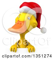 Clipart Of A 3d Yellow Christmas Duck Over A Sign Royalty Free Illustration by Julos