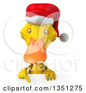 Clipart Of A 3d Yellow Christmas Duck Pointing Down Over A Sign Royalty Free Illustration by Julos