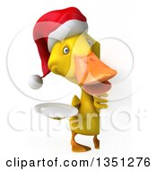 Clipart Of A 3d Yellow Christmas Duck Holding A Plate Around A Sign Royalty Free Illustration