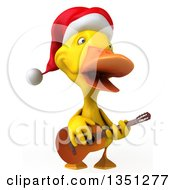Clipart Of A 3d Yellow Christmas Duck Playing A Guitar Royalty Free Illustration by Julos