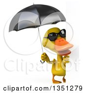 Clipart Of A 3d Yellow Duck Wearing Sunglasses And Holding An Umbrella By A Blank Sign Royalty Free Illustration by Julos