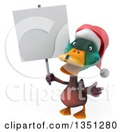 Clipart Of A 3d Christmas Mallard Drake Duck Holding A Blank Sign Royalty Free Illustration by Julos