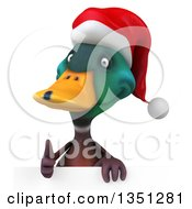 Clipart Of A 3d Christmas Mallard Drake Duck Giving A Thumb Up Over A Sign Royalty Free Illustration by Julos