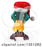 Clipart Of A 3d Christmas Mallard Drake Duck Pointing Down Over A Sign Royalty Free Illustration by Julos