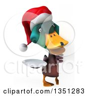 Clipart Of A 3d Christmas Mallard Drake Duck Holding A Plate Around A Sign Royalty Free Illustration