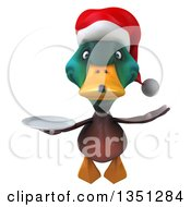 Clipart Of A 3d Christmas Mallard Drake Duck Holding A Plate And Flying Royalty Free Illustration