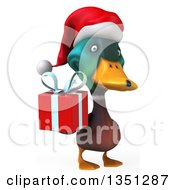 Clipart Of A 3d Christmas Mallard Drake Duck Holding A Gift Royalty Free Illustration by Julos