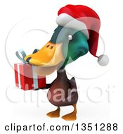 Clipart Of A 3d Christmas Mallard Drake Duck Holding A Gift Facing Left Royalty Free Illustration by Julos