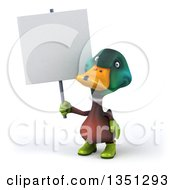 Clipart Of A 3d Gardener Mallard Drake Duck Holding A Blank Sign Royalty Free Illustration by Julos
